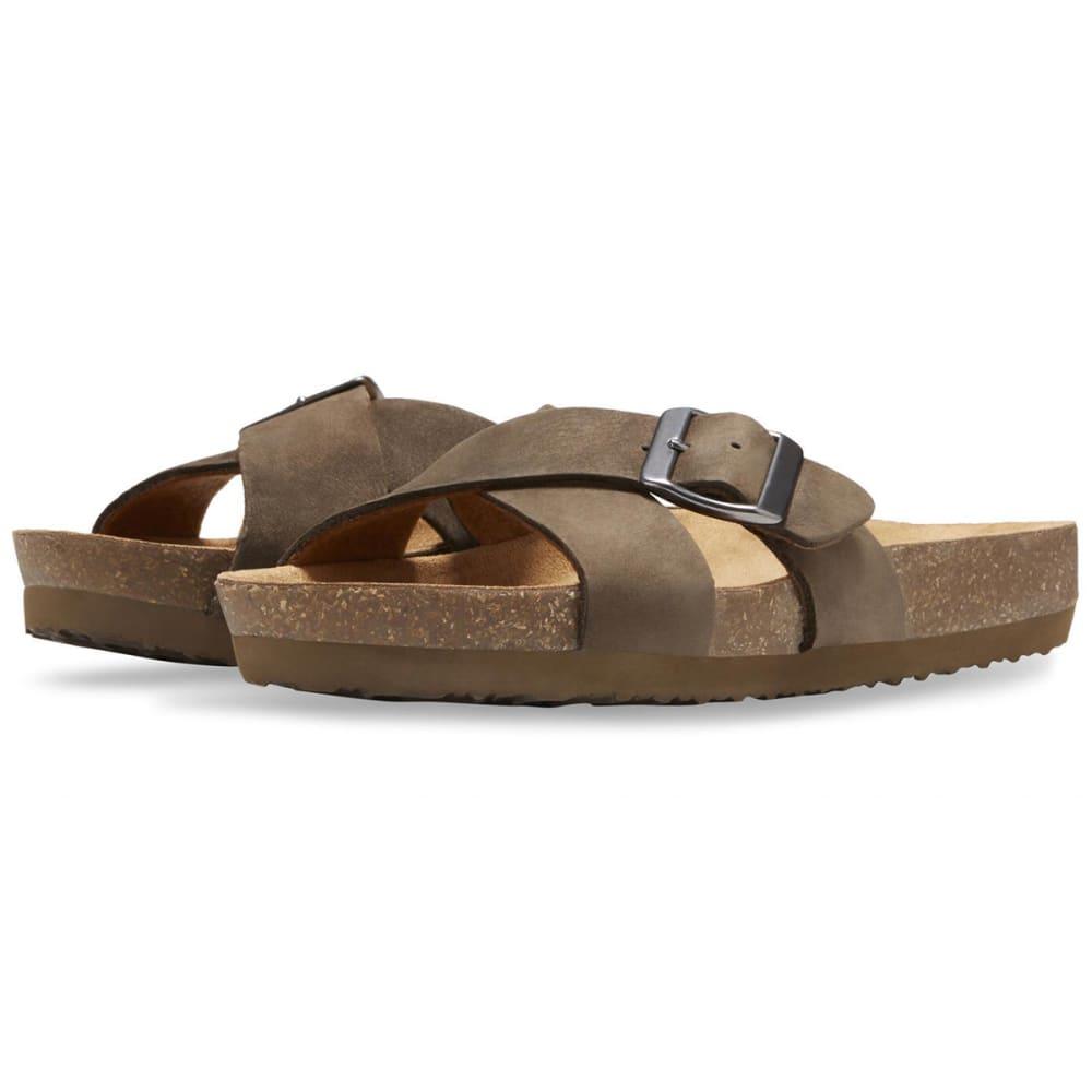 EASTLAND Women's Kelley Crisscross Slide Sandals - EARTH NUBUC-29