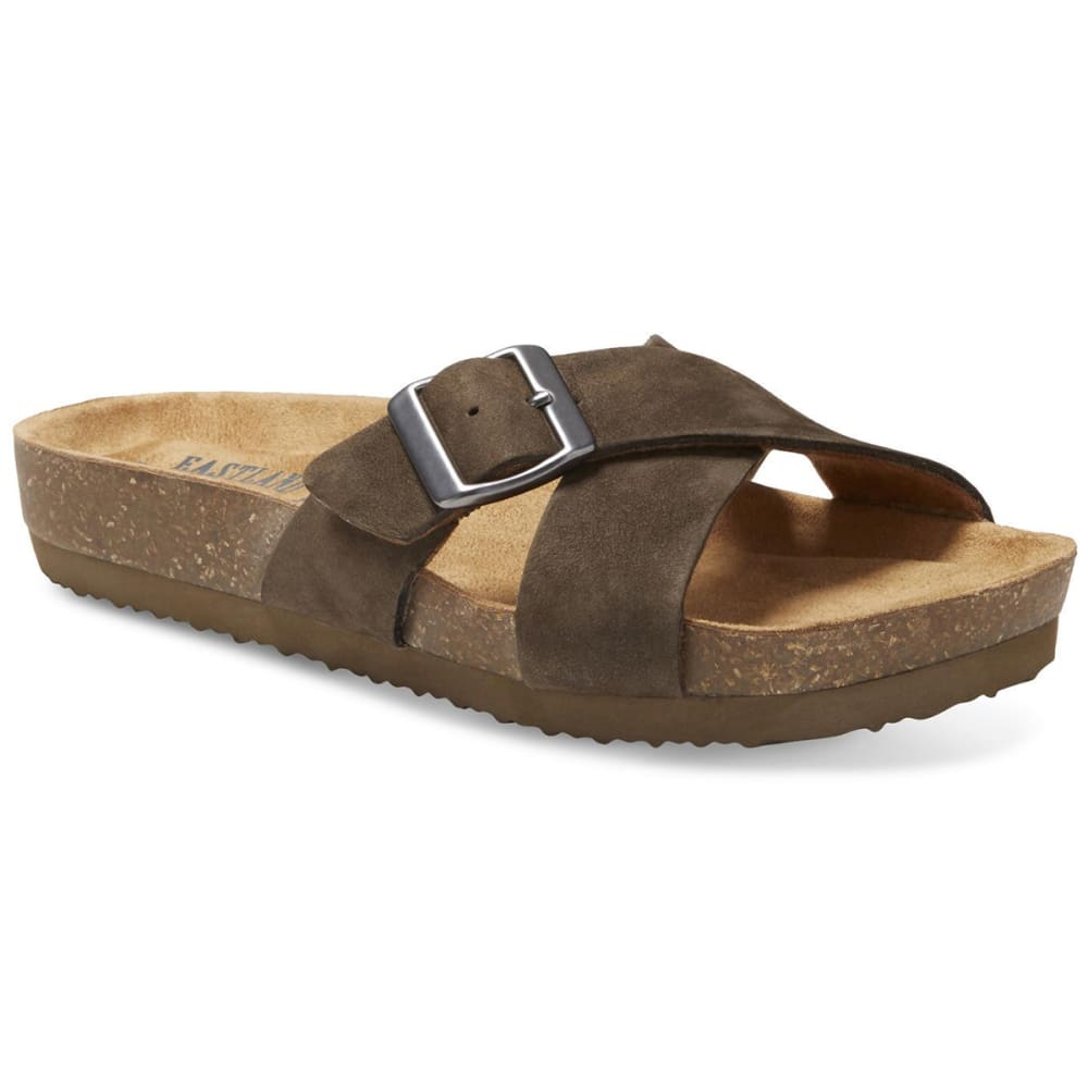 EASTLAND Women's Kelley Crisscross Slide Sandals - EARTH NUBUC-29