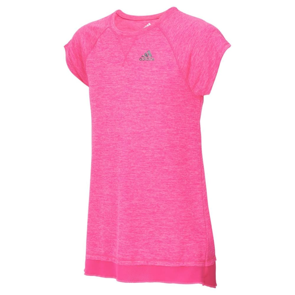 ADIDAS Girls' Melange Short-Sleeve Performance Top - SOLAR PINK-AP02H