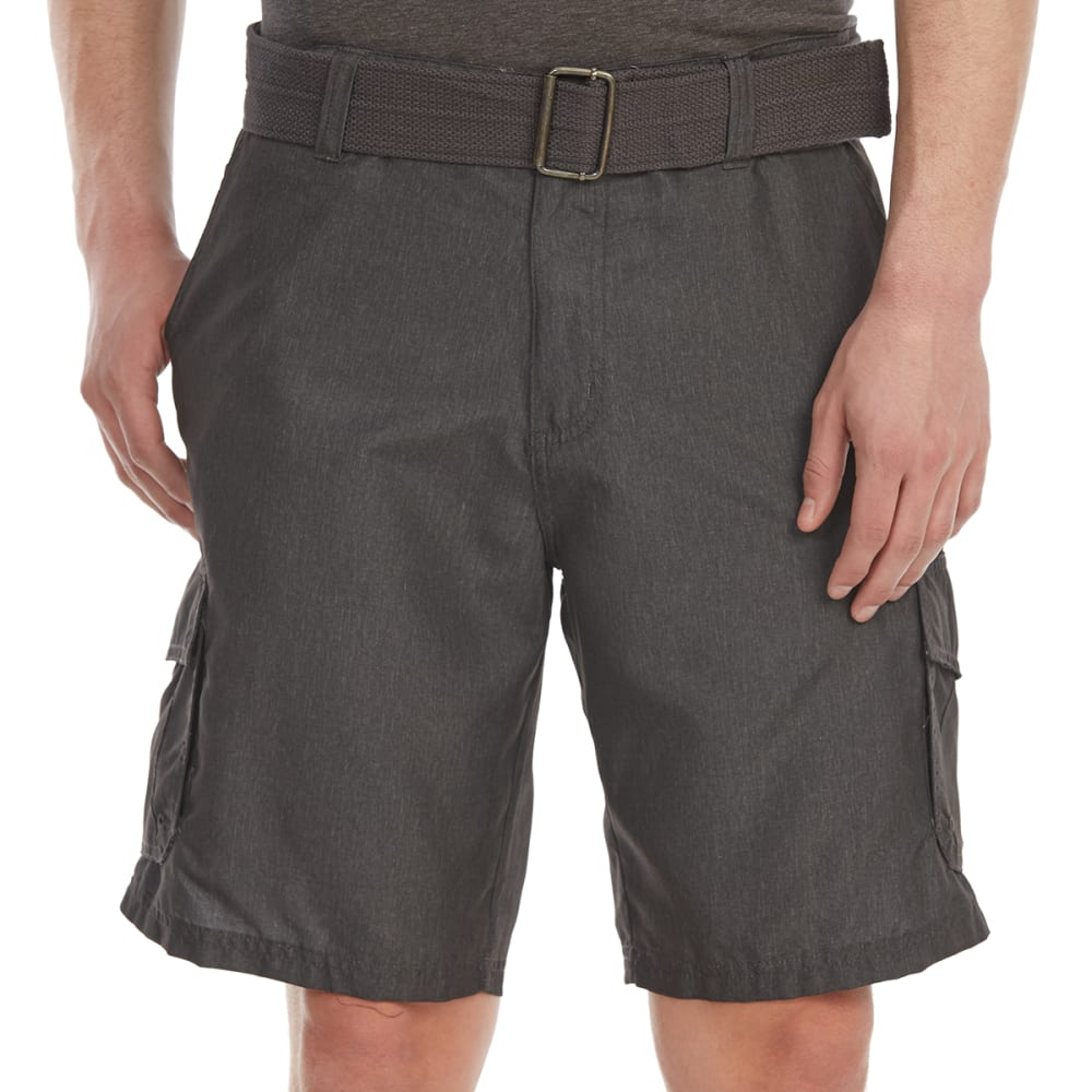 BURNSIDE Guys' Solid Microfiber Cargo Shorts - CHARCOAL HTR