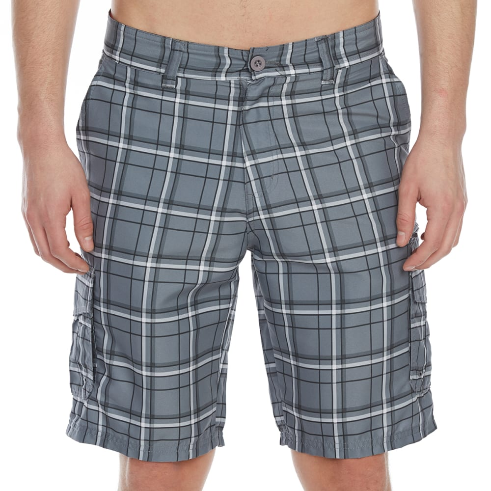 Burnside Guys Plaid Microfiber Cargo Shorts - Black, 30