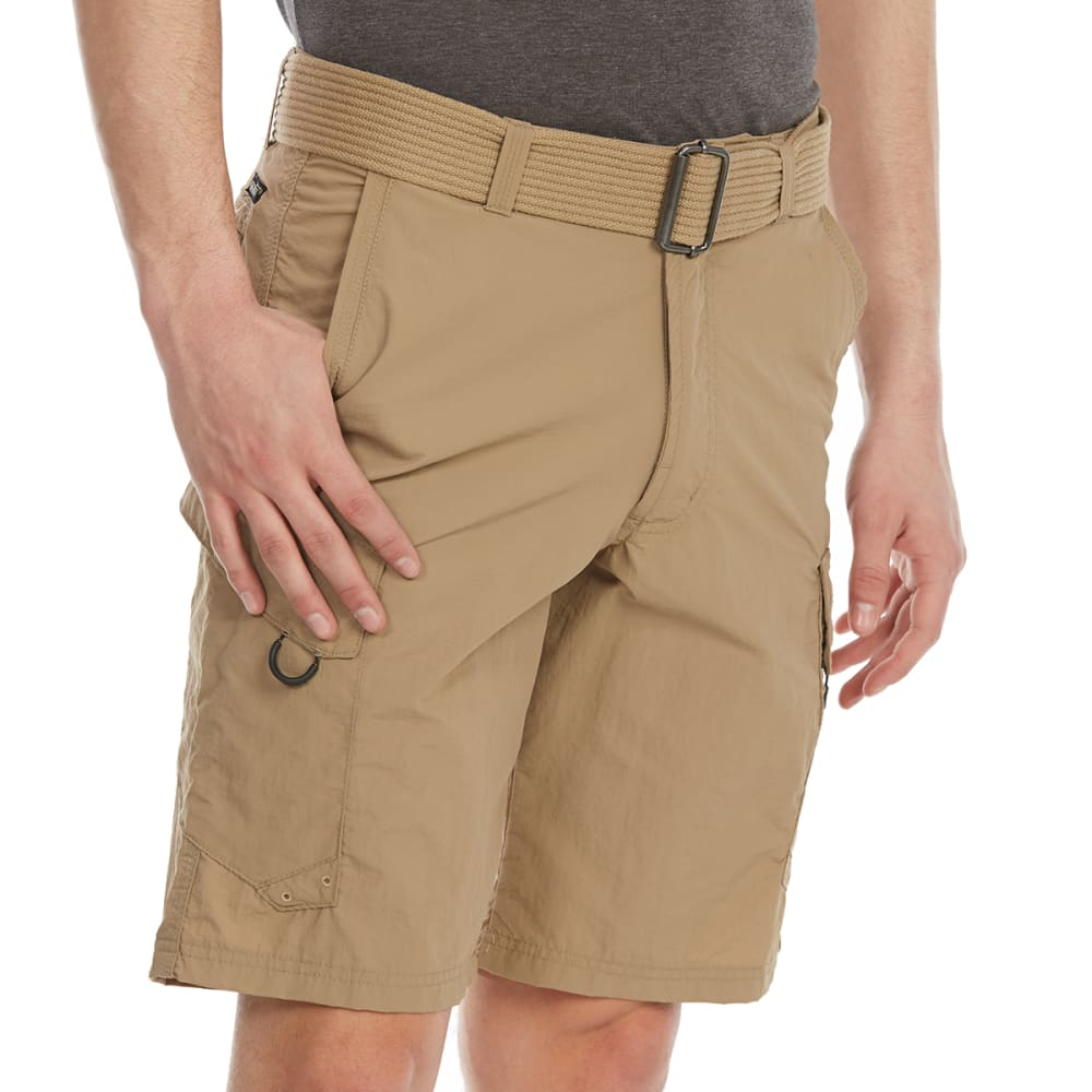 BURNSIDE Guys' Taslon Cargo Shorts - KHAKI