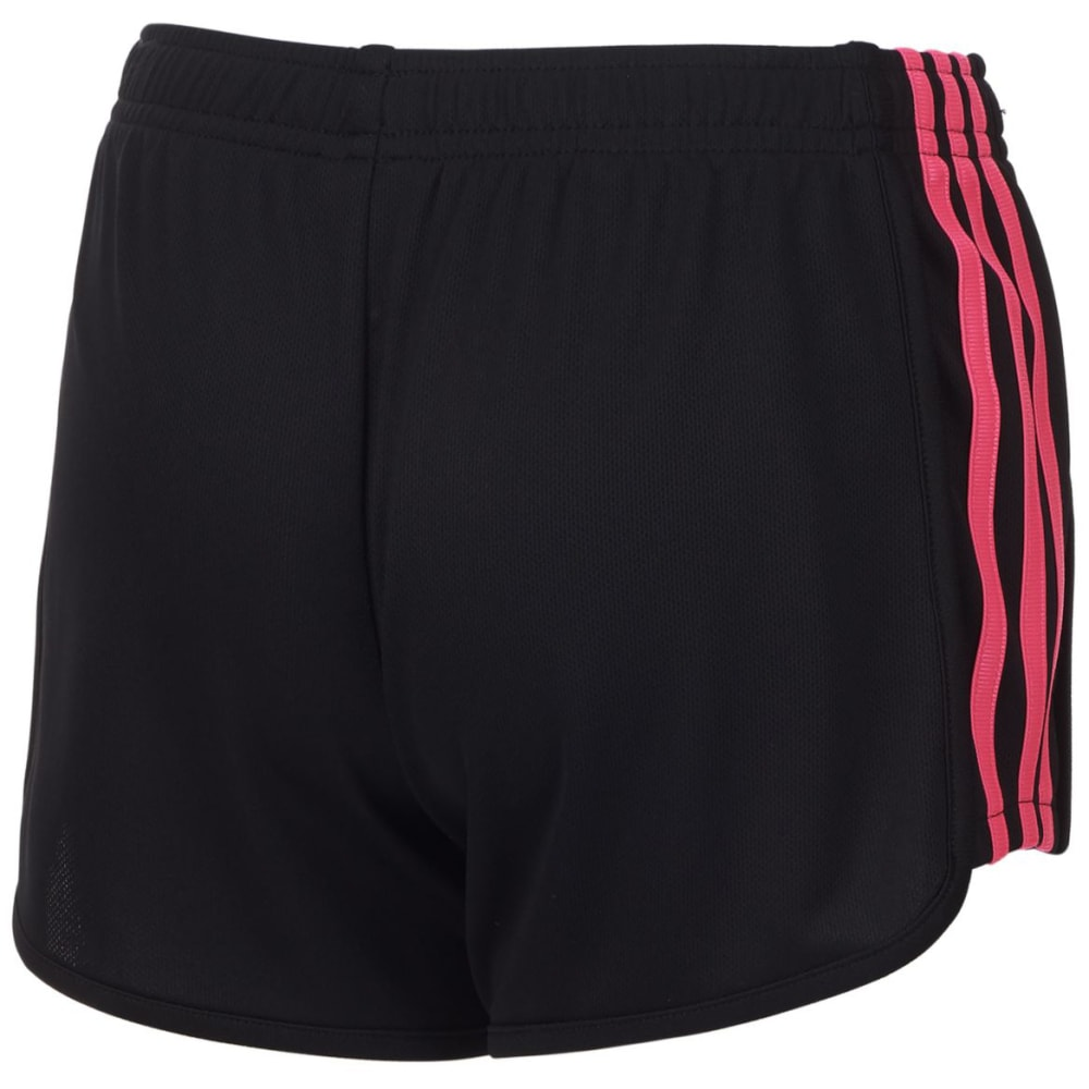 ADIDAS Little Girls' Three-Stripe Mesh Shorts - BLK/SOLAR PNK-AK201