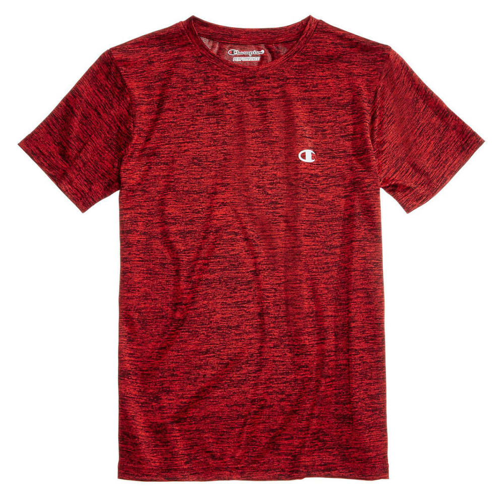 CHAMPION Little Boys' Linear Heather Athletic Short-Sleeve Tee - CRIMSON