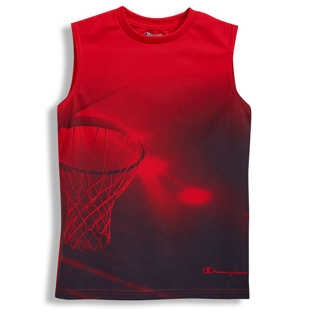 CHAMPION Big Boys' Basketball Hoop Muscle Tee - CRIMSON