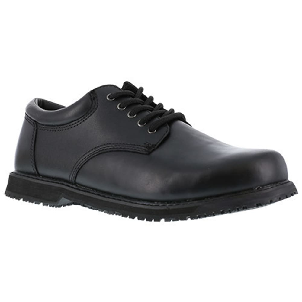 GRABBERS Women's Friction Plain Toe Oxford Slip Resistant Shoes, Black 5