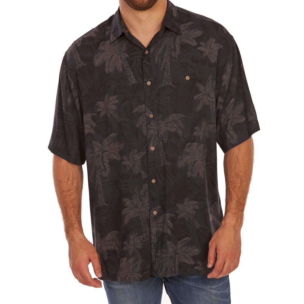 CAMPIA MODA Men's Tonal Tropical Print Rayon Short-Sleeve Shirt - BLACK