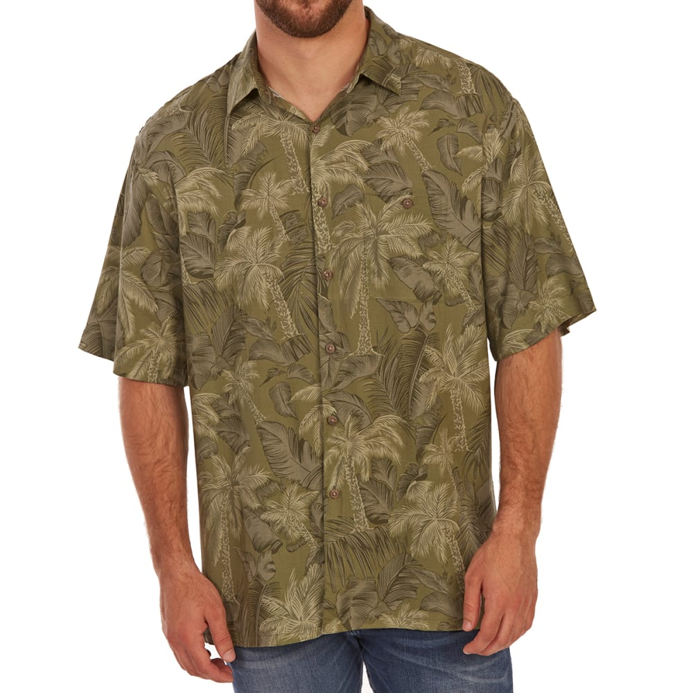 CAMPIA MODA Men's Tonal Tropical Print Rayon Short-Sleeve Shirt - AVACADO