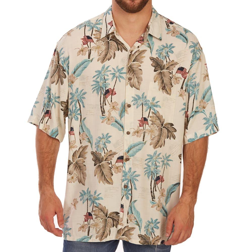 CAMPIA MODA Men's Tropical Flag Print Rayon Short-Sleeve Shirt - TEAL