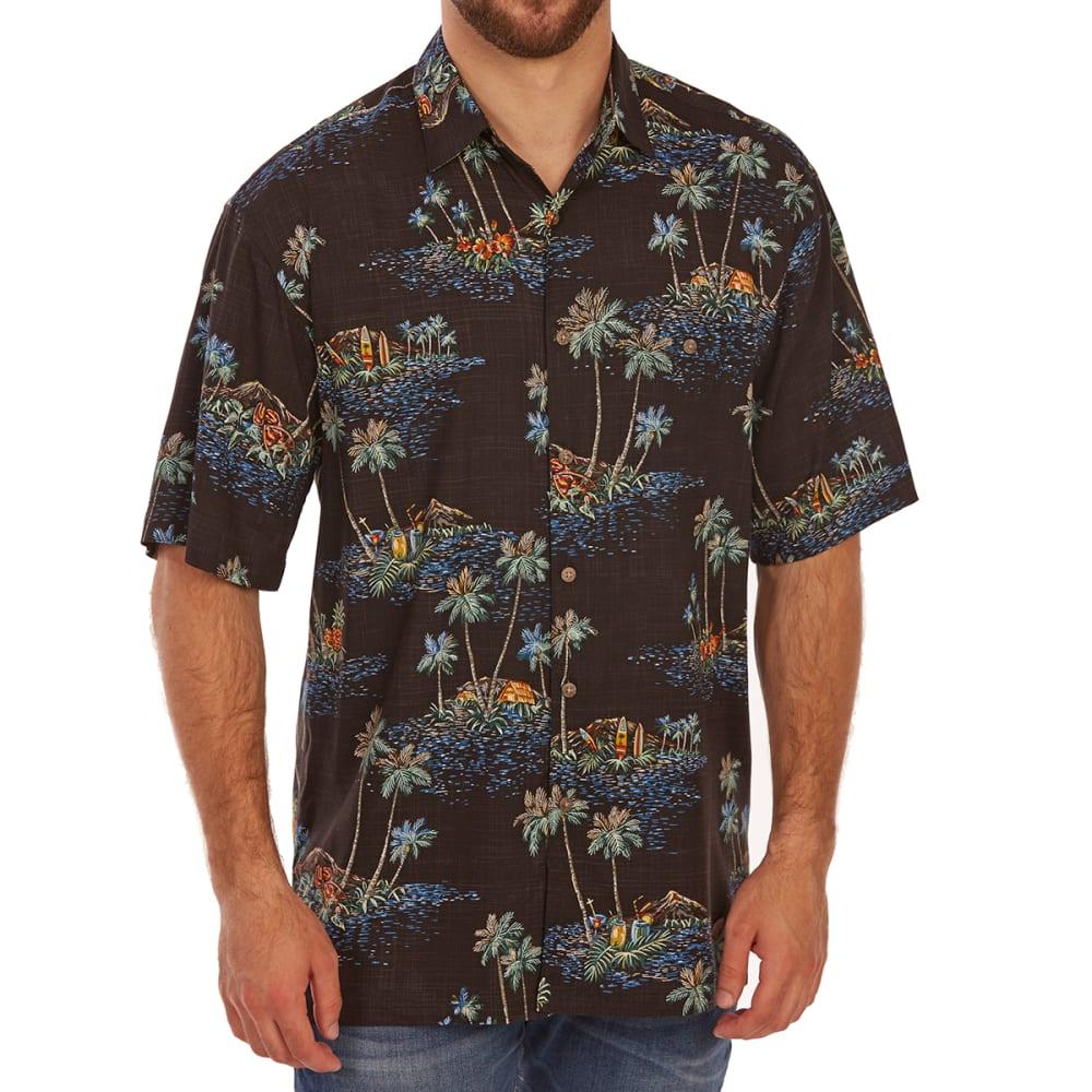 CAMPIA MODA Men's Tropical Pineapple Print Rayon Short-Sleeve Shirt - BLACK