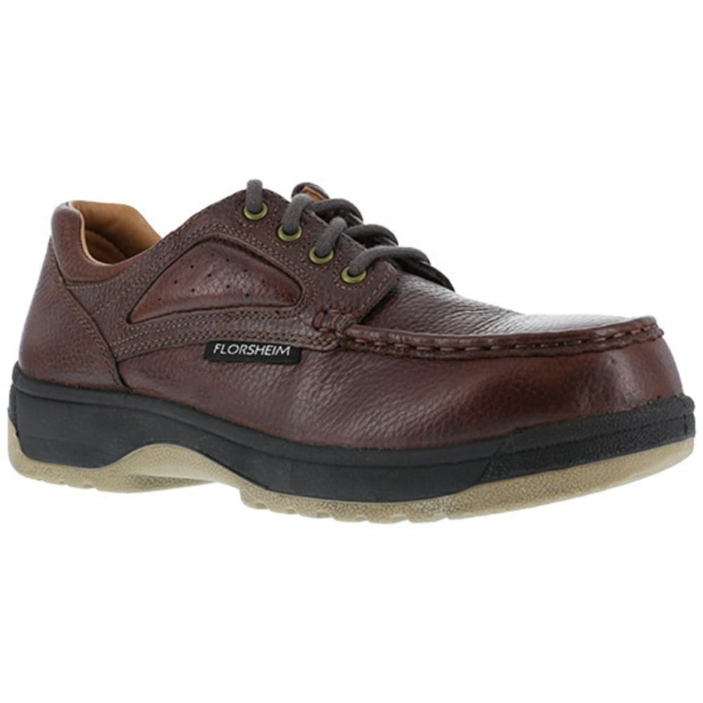 FLORSHEIM WORK Women's Compadre Composite Toe Eurocasual Moc Toe Oxford Shoe, Dark Brown - BROWN