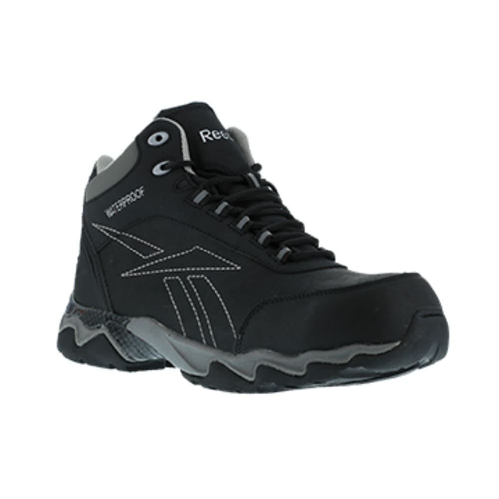 REEBOK WORK Men's Beamer Composite Toe Waterproof Athletic Hiker, Black/Grey - BLACK