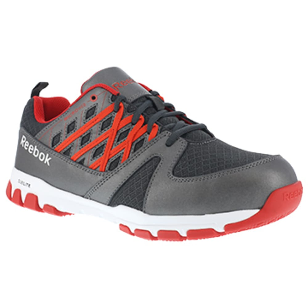 REEBOK WORK Men's Sublite Work Steel Toe Athletic Oxford Sneaker, Grey/Red - GREY