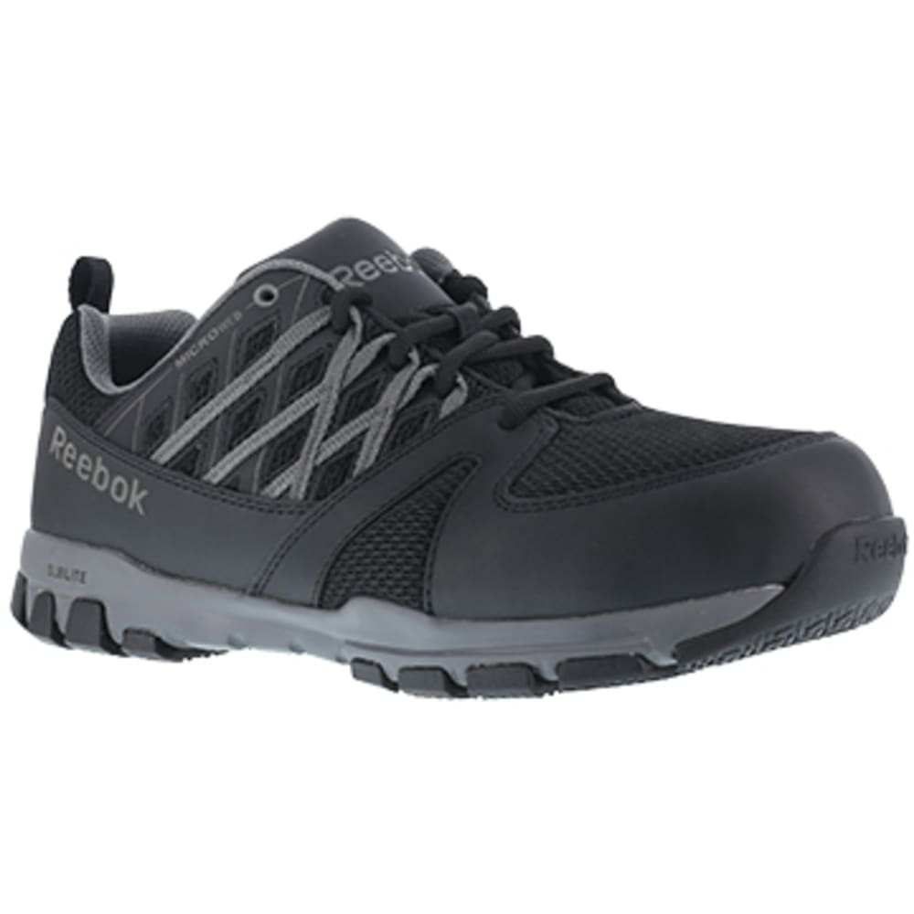 REEBOK WORK Men's Sublite Work Steel Toe Athletic Oxford Sneaker, Black/Grey - BLACK