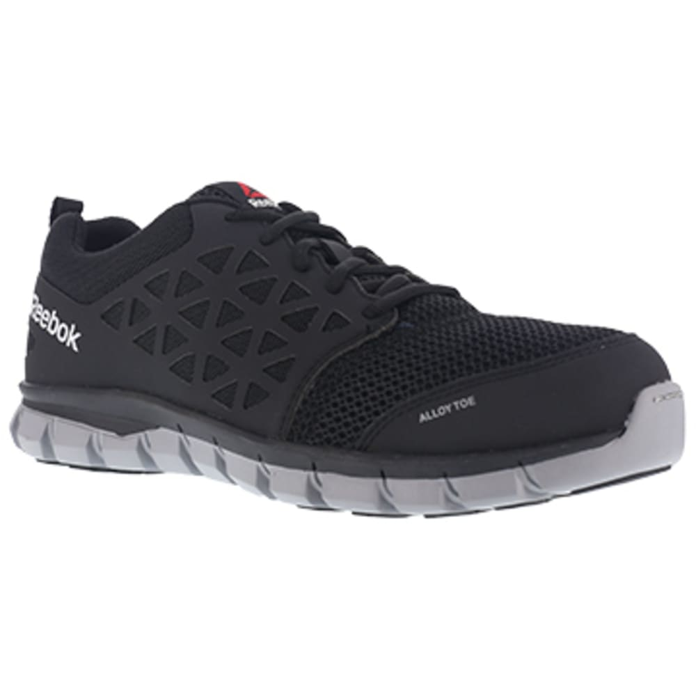 REEBOK WORK Men's Sublite Cushion Work Alloy Toe Athletic Oxford Sneaker, Black - BLACK