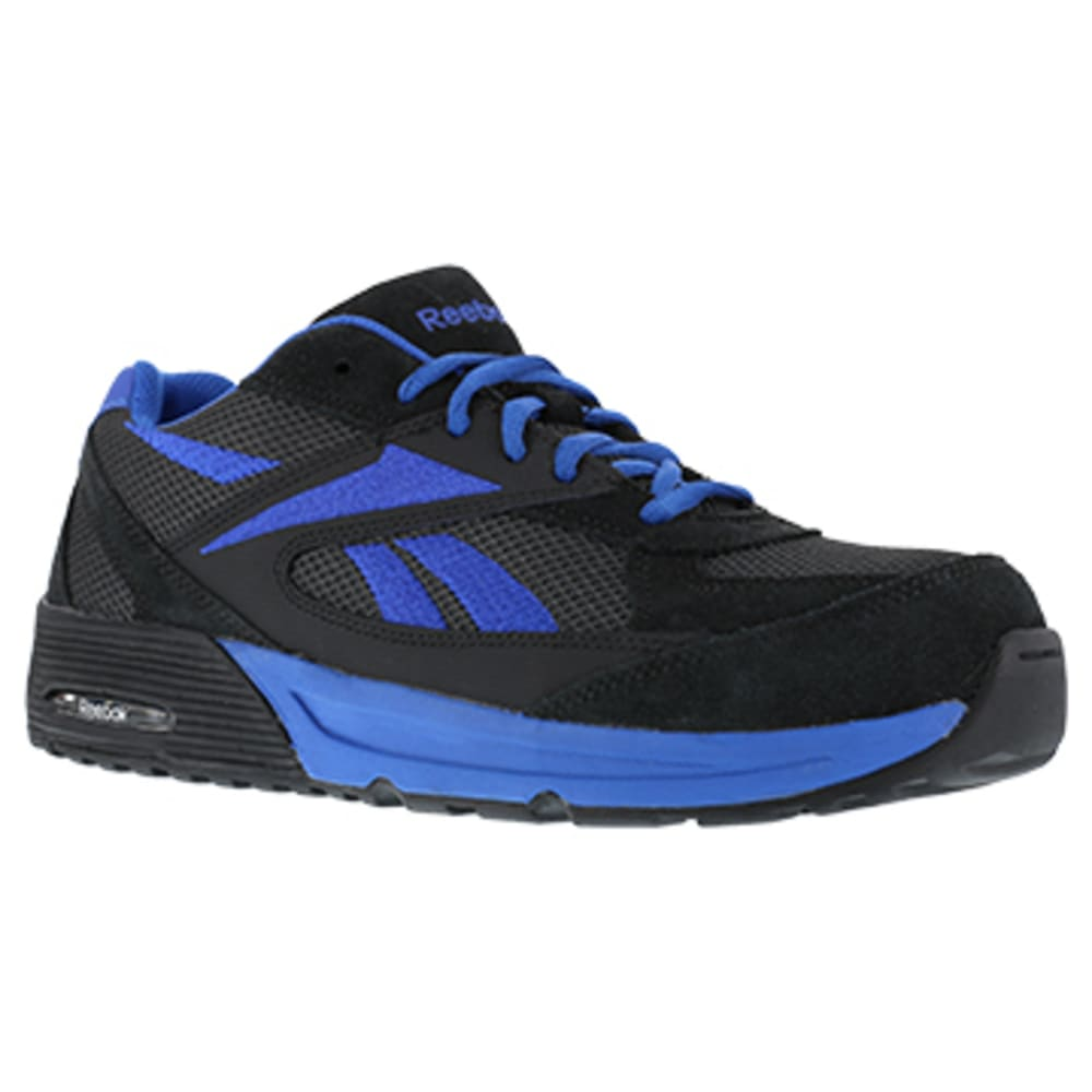 REEBOK WORK Men's Beviad Composite Toe Suede Leather Retro Jogger Oxford Sneaker, Dark Grey/Blue - DK GREY WITH BLUE