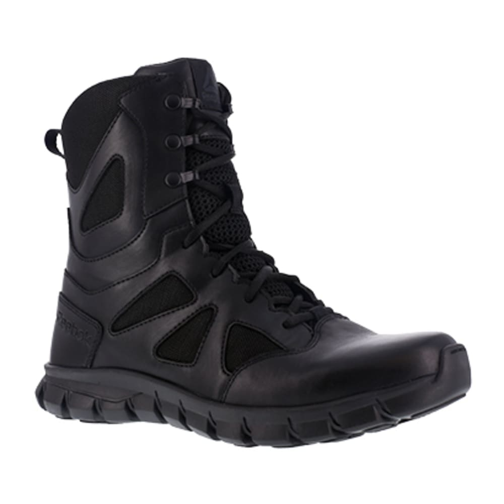 "REEBOK WORK Men's Sublite Cushion Tactical Soft Toe 8"" W/ Side Zipper Tactical Boot, Black 7.5"