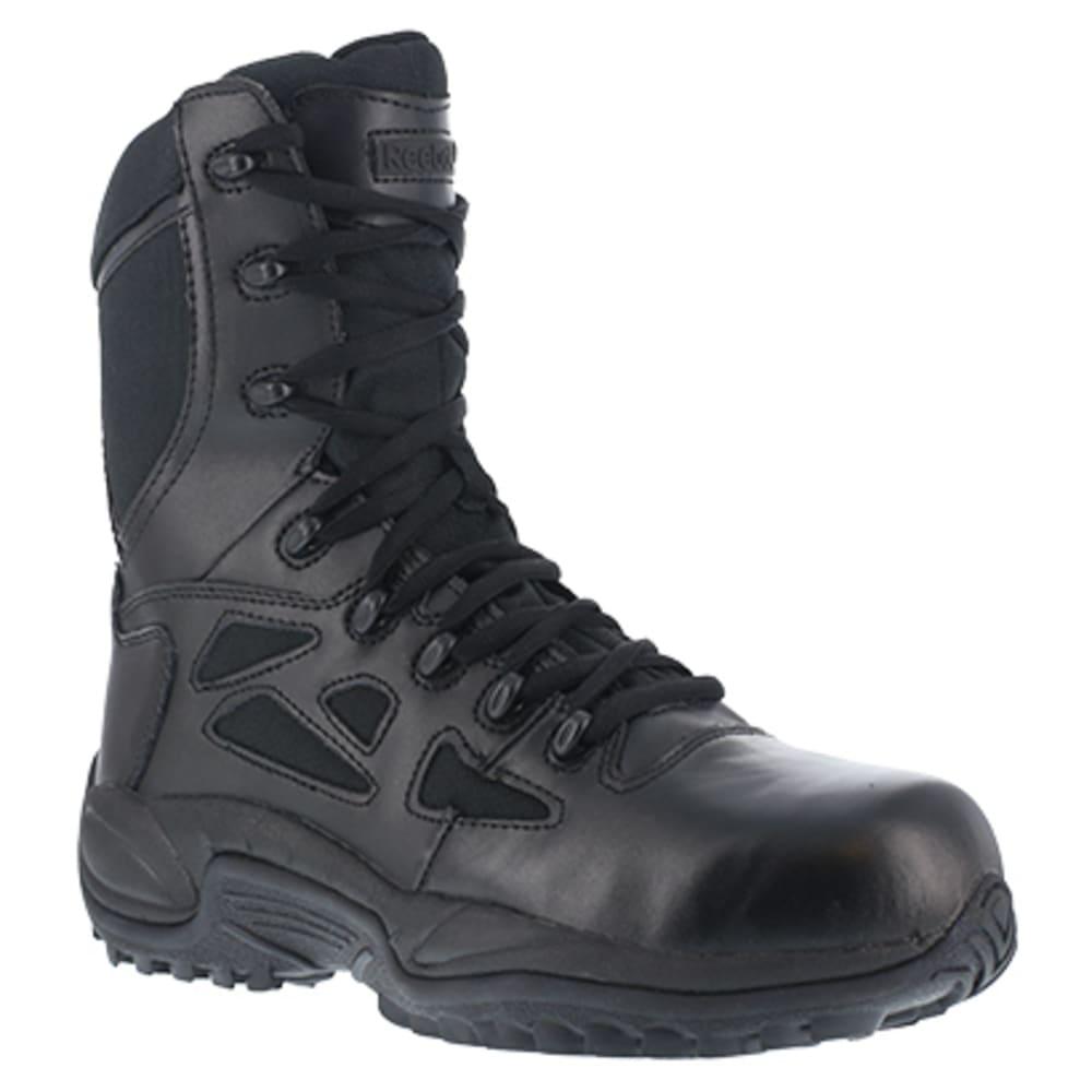 "REEBOK WORK Men's Rapid Response RB Composite Toe Stealth 8"" W/ Side Zip Boot, Black 6.5"