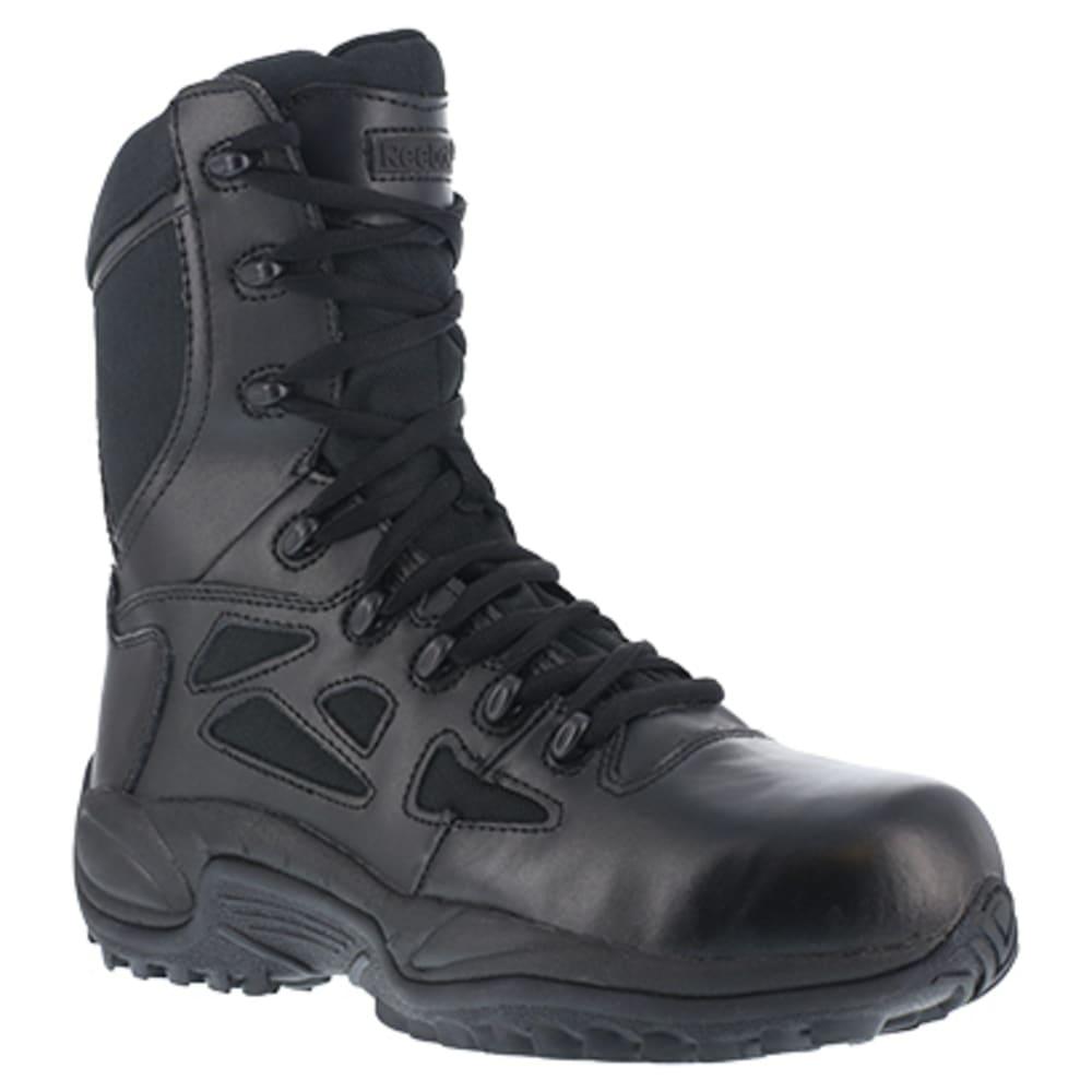 "REEBOK WORK Men's Rapid Response RB Soft Toe Stealth 8"" W/ Side Zip Boot, Black 6"