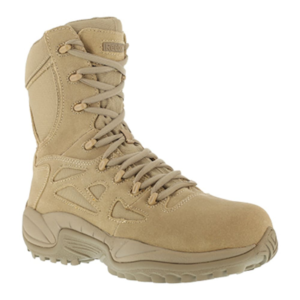 "REEBOK WORK Men's Rapid Response RB Soft Toe Stealth 8"" W/ Side Zip Boot, Desert Tan - DESERT TAN"