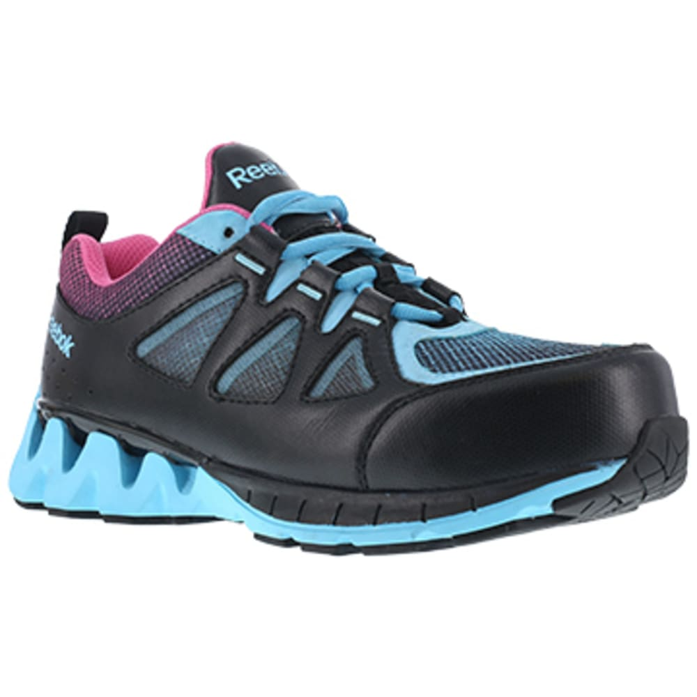 REEBOK WORK Women's ZigKick Work Composite Toe Athletic Oxford Sneakers, Black/Blue/Pink - BLACK/BLUE/PINK