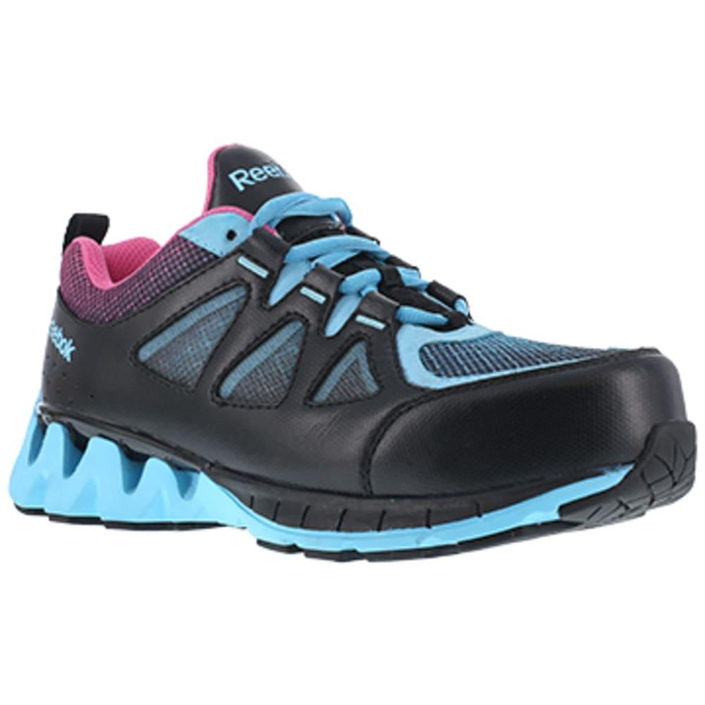 REEBOK WORK Women's ZigKick Work Composite Toe Athletic Oxford Sneakers, Black/Blue/Pink - BLACK/BLUE/PINK