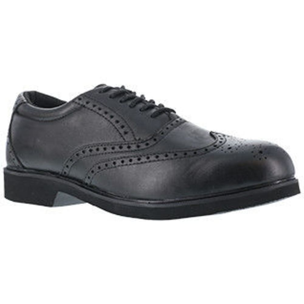ROCKPORT WORKS Men's Dressports Dress Leather Wing Tip Steel Toe Shoes, Black - BLACK