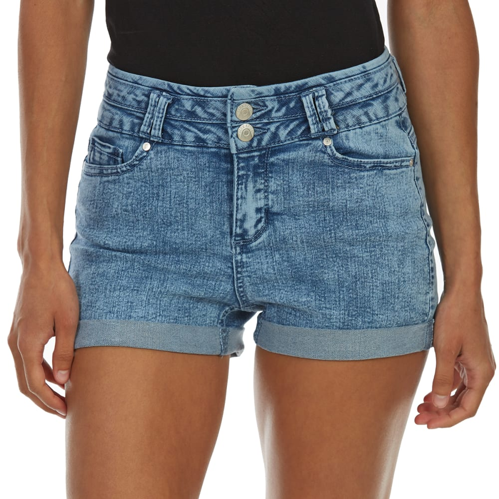 BLUE SPICE Juniors' High-Rise 2-Button Stacked Waist Roll Cuff Denim Shorts - ACID WASH