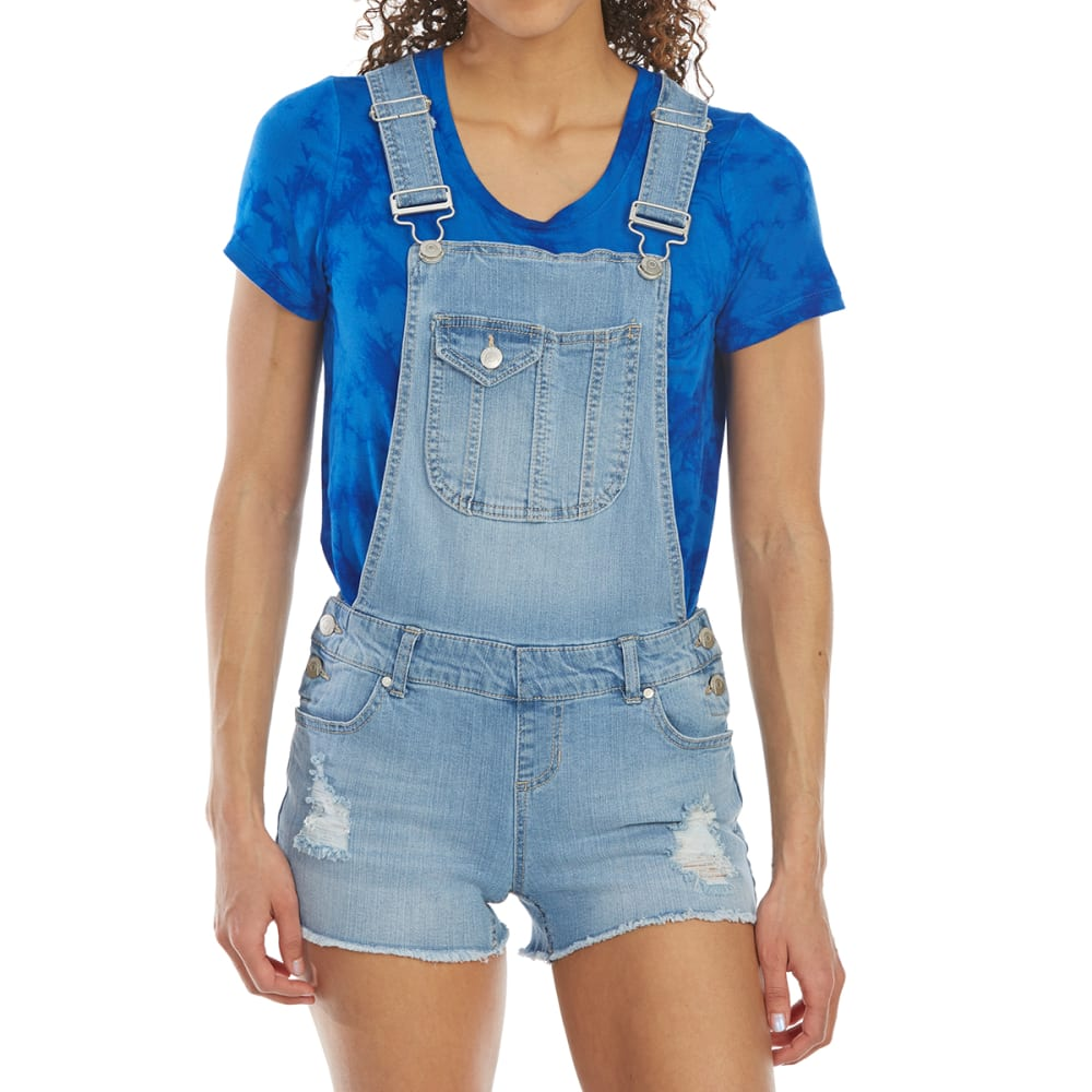 BLUE SPICE Juniors' Fray Hem Destructed Denim Shortalls - LIGHT WASH