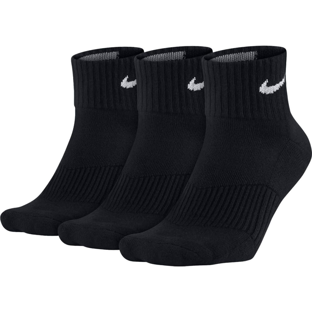 NIKE Unisex Perfect Cushion Quarter Training Socks, 3 Pair - BLACK 001