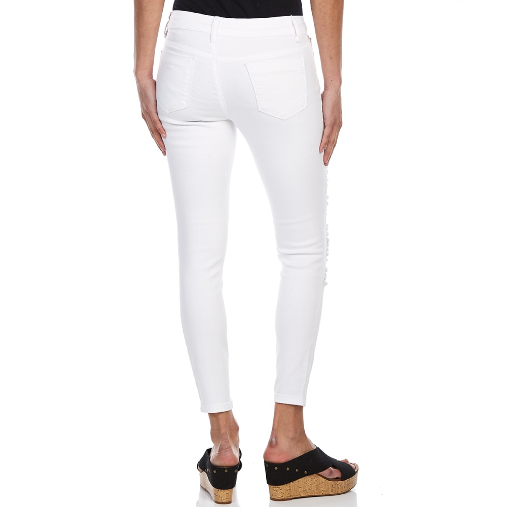 BLUE SPICE Juniors' Destructed Ankle Jeans - WHITE