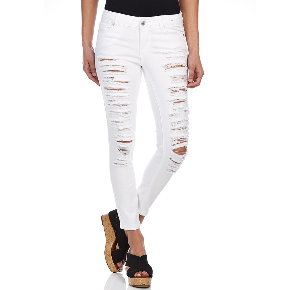 Blue Spice Juniors Destructed Ankle Jeans