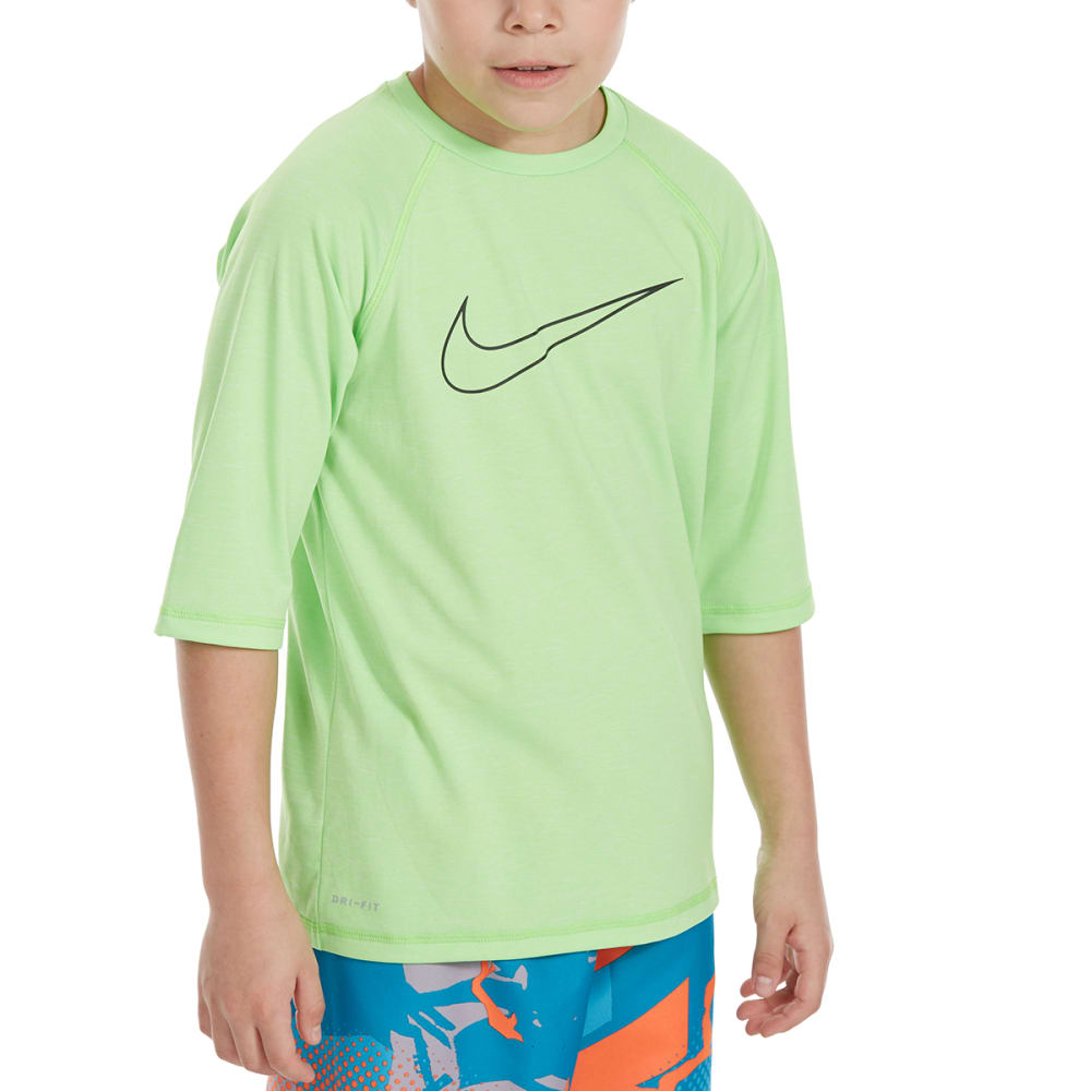 Nike Big Boys' Heather Swoosh Half-Sleeve Hydroguard Rash Guard - Green, M