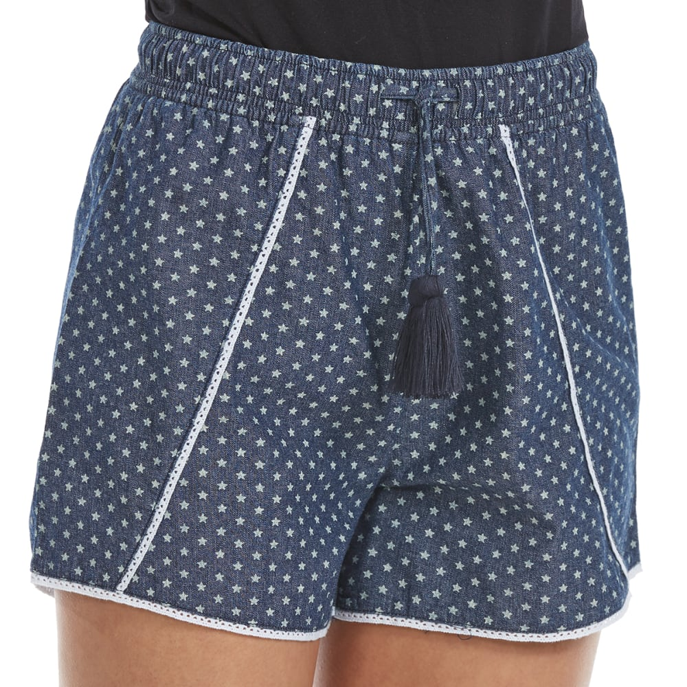 MAISON COUPE Big Girls' Star Print Soft Shorts - MED DENIM