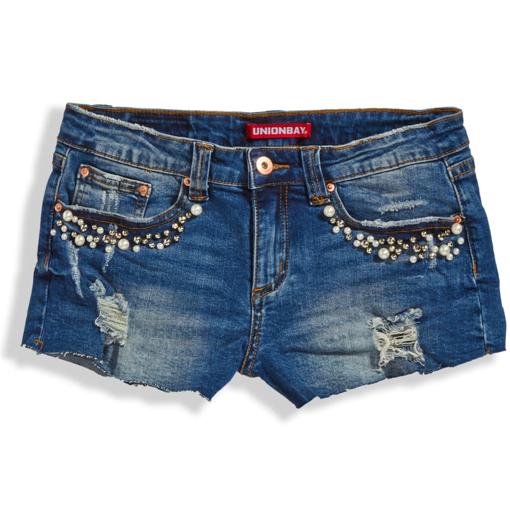 UNIONBAY Juniors' Pearl Embellished Shorts - 932J-CRETE BLUE