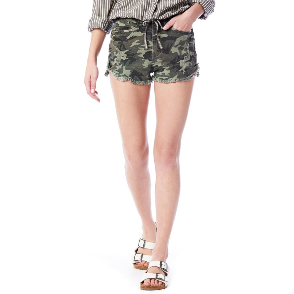 UNIONBAY Juniors' Moxie Distressed Camo Shorts - 389J-DEEP LINEN