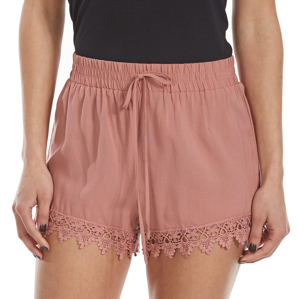 AMBIANCE Juniors' Woven Lace Trim Shorts - MAUVE