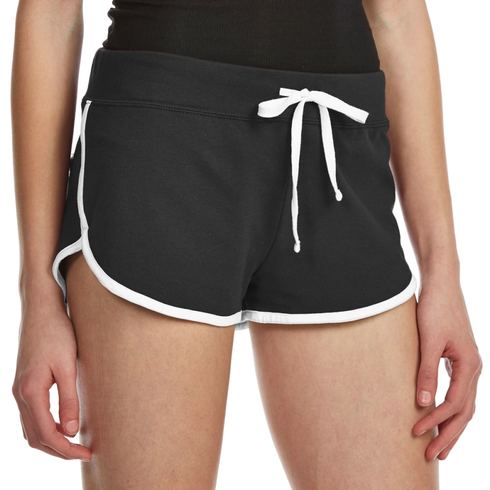 AMBIANCE Juniors' Contrast-Trim Dolphin Shorts - BLACK/WHITE