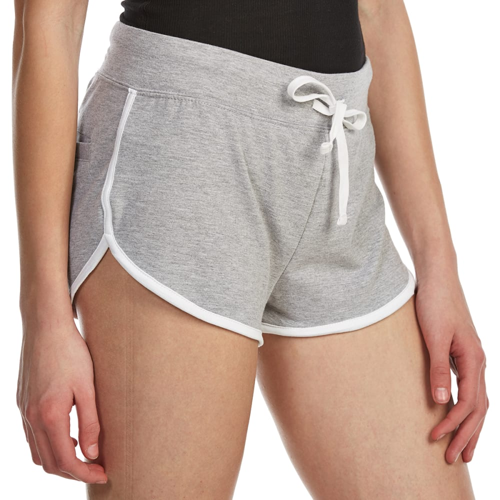 AMBIANCE Juniors' Contrast-Trim Dolphin Shorts - HTHR GREY/WHT