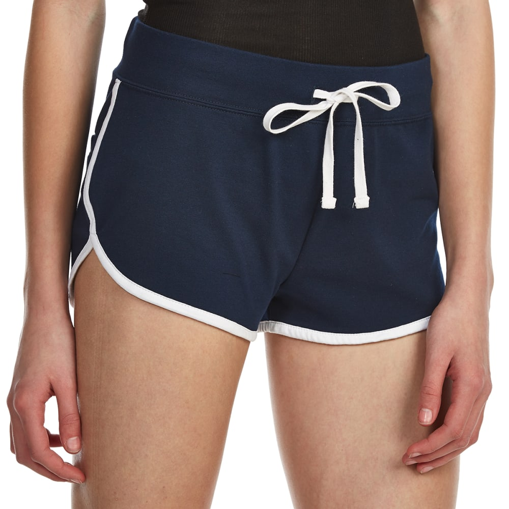 AMBIANCE Juniors' Contrast-Trim Dolphin Shorts - ECLIPSE/WHITE