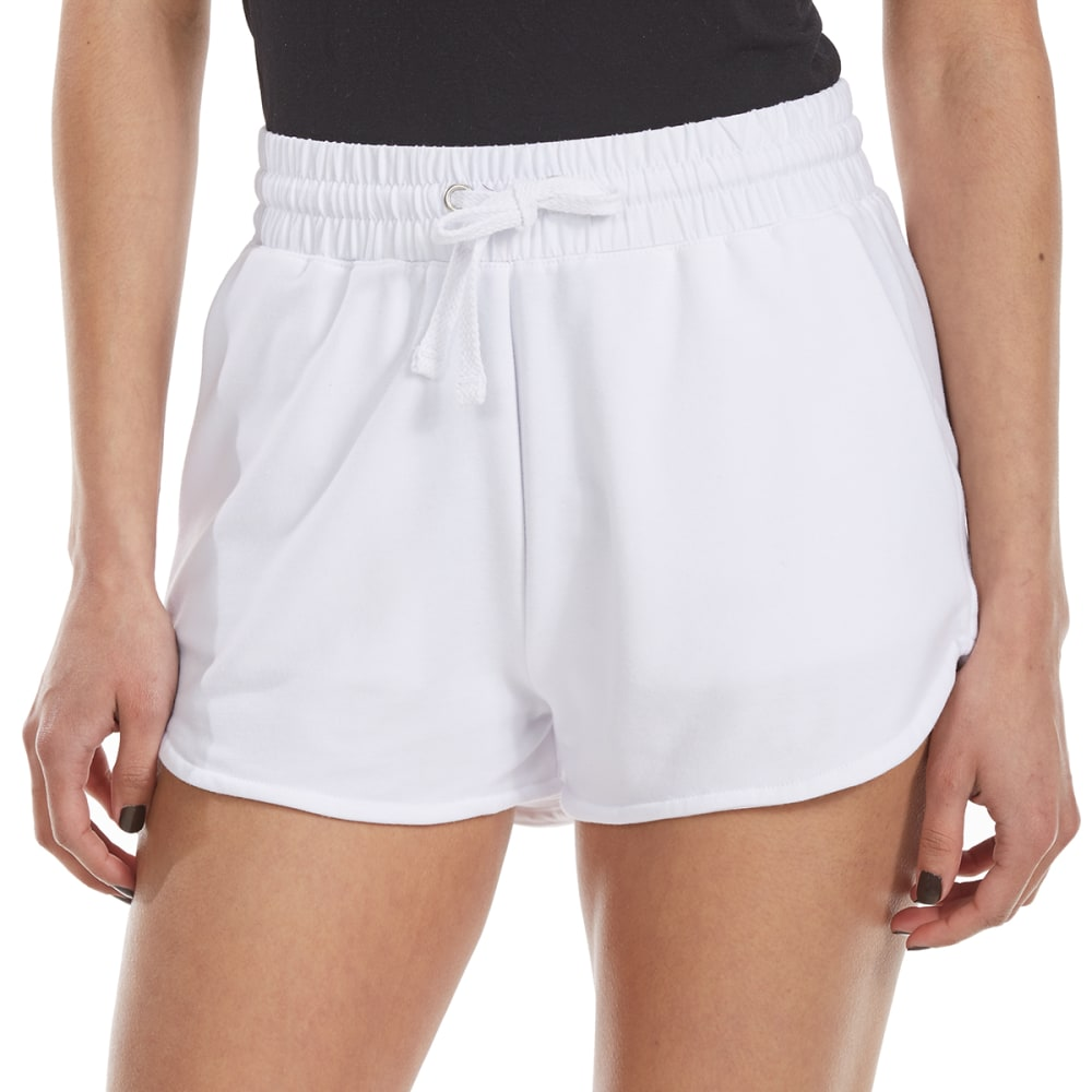 AMBIANCE Juniors' Solid High-Waist Knit Shorts - WHITE