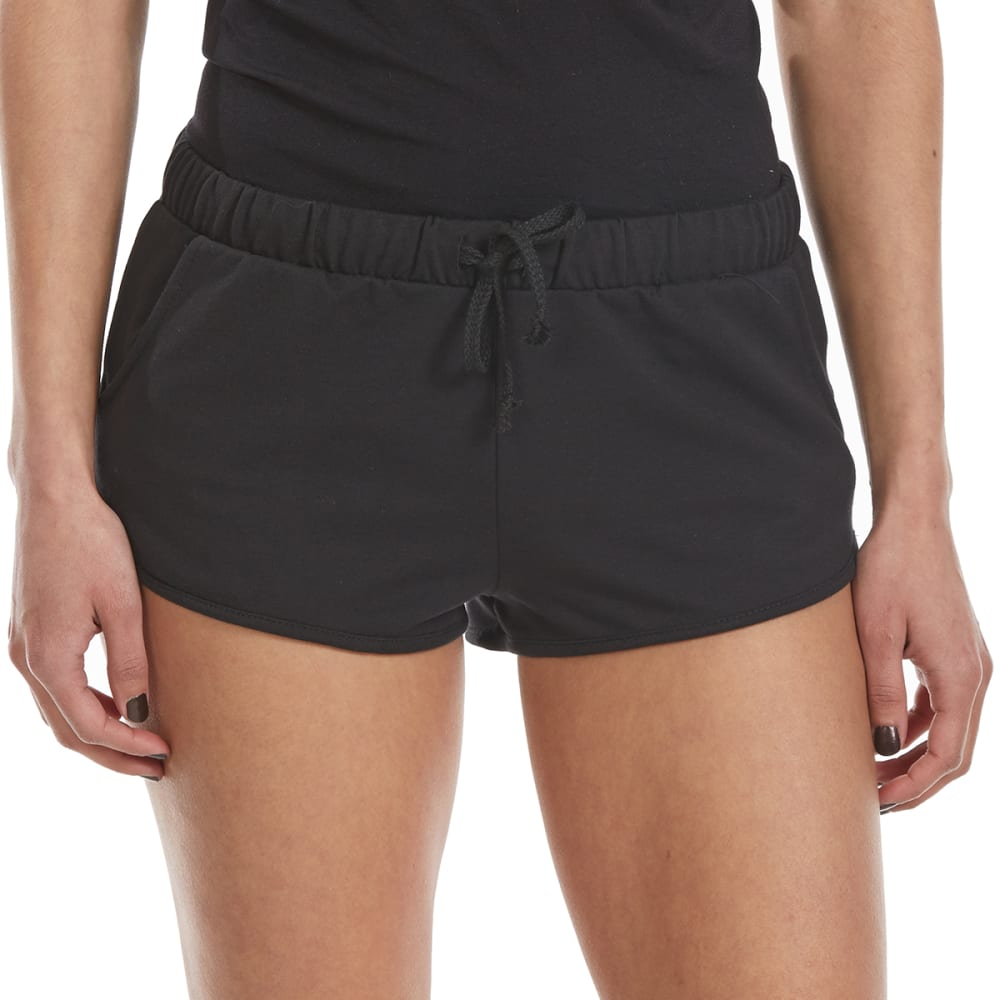 AMBIANCE Juniors' French Terry Solid Dolphin Shorts - BLACK