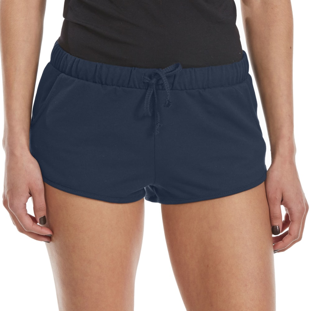 AMBIANCE Juniors' French Terry Solid Dolphin Shorts - ECLIPSE