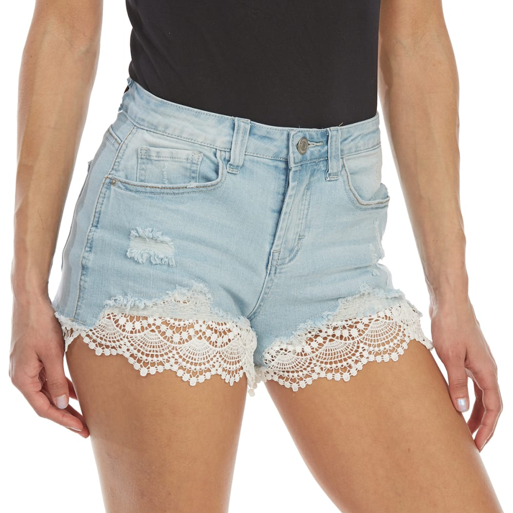 ALMOST FAMOUS Juniors' Crochet Trim Denim Shorts - KC-LIGHT WASH