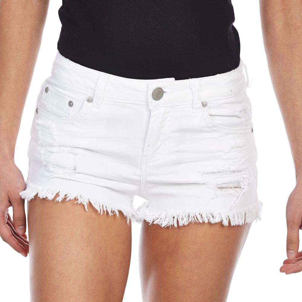 ALMOST FAMOUS Juniors' Frayed Hem Denim Shorts - 1G1-WHITE