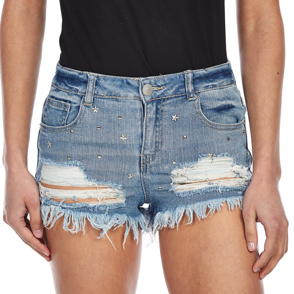 ALMOST FAMOUS Juniors' Star Embossed Denim Shorts - AY-MED WASH