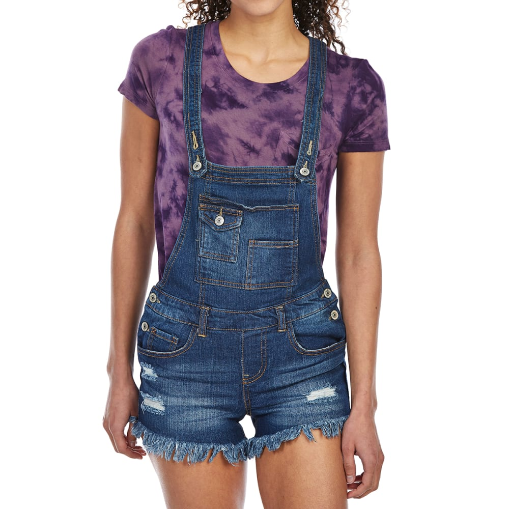 ALMOST FAMOUS Juniors' Frayed Hem Shortalls - ME-MED WASH