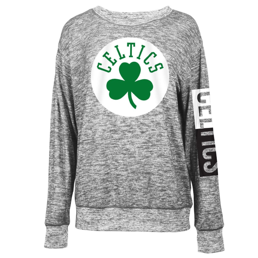 BOSTON CELTICS Women's Space-Dye Crew Long-Sleeve Shirt - BLACK