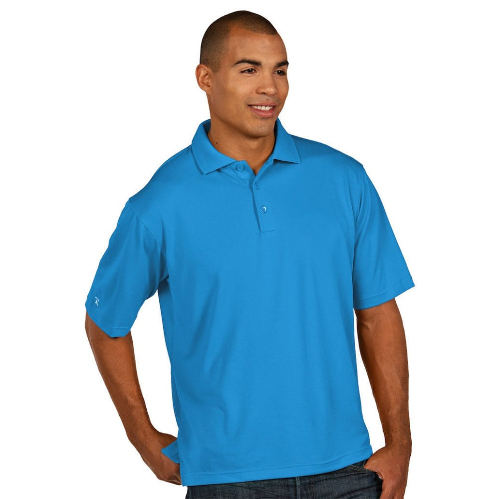 Antigua Men's Pique Xtra Lite Short-Sleeve Polo Shirt - Blue, S