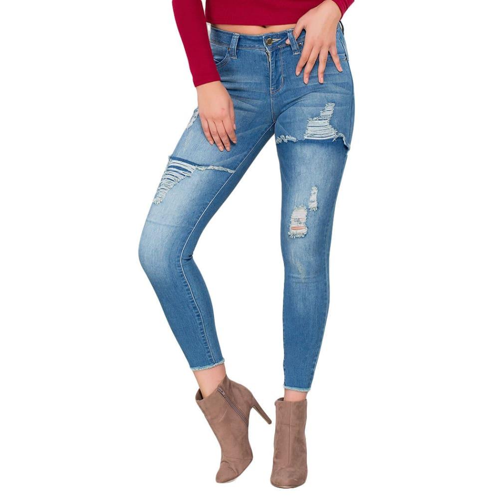 YMI Juniors' WannaBettaButt Mid-Rise Foldover Destruct Skinny Jeans - R831-MED WASH
